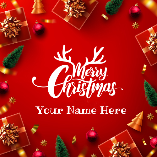 Christmas Celebration Elegant Wish Card With Name
