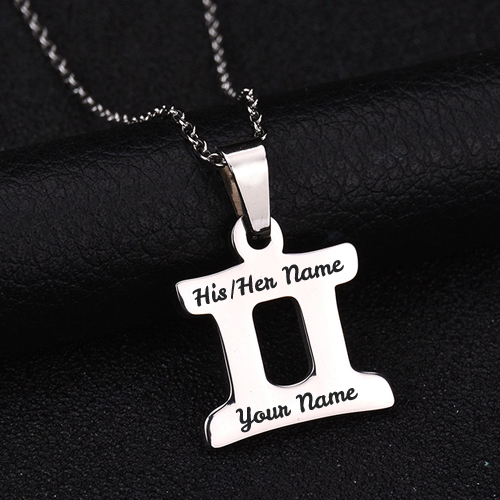 Stainless Steel Zodiac Sign Pendant Necklace With Name