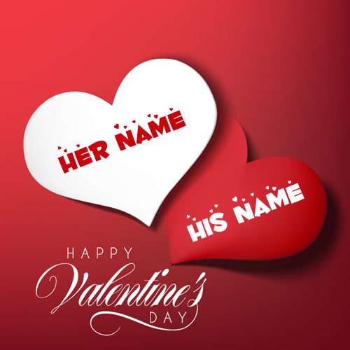 Romantic Couple Heart Valentine Day Greeting With Name