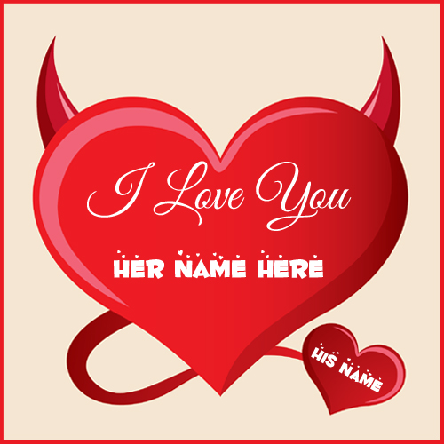 Red Devil Heart Beautiful Greeting Card With Lover Name