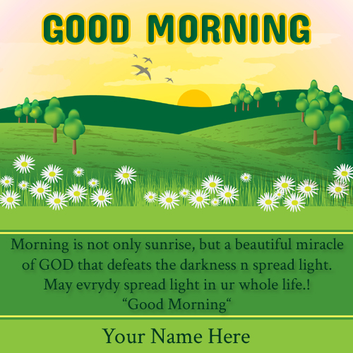 Spring Landscape Good Morning Quote Greeting With Name