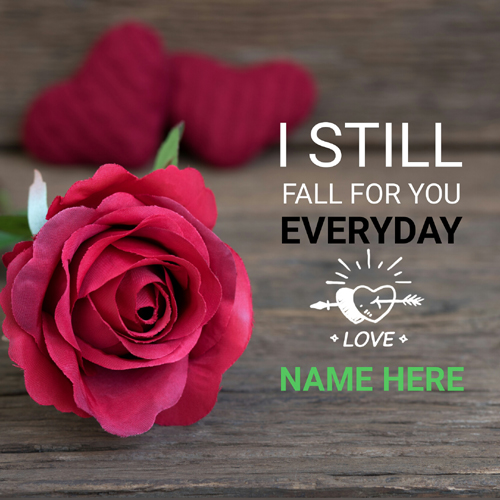 Write Name on Cute Love Quote Whatsapp DP With Red Rose