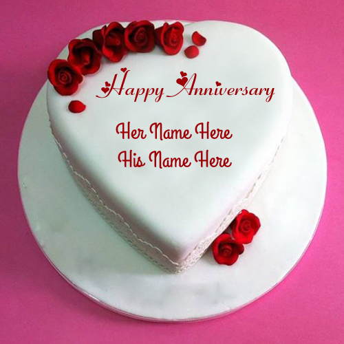 Write Custom Text on Anniversary Wishes Name Cake