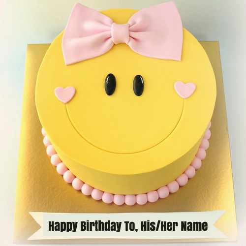 Cute Smiley Birthday Wishes Cake For Girl With Name