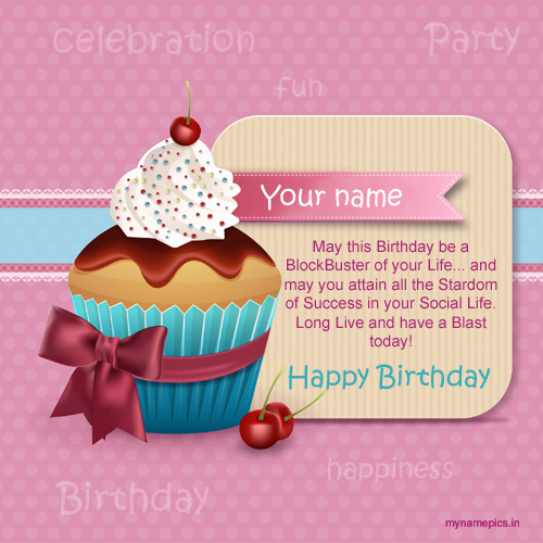 Write name on birthday greeting card with cake pic – Birthday Greeting Cards with Name
