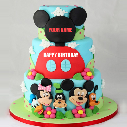 Happy Birthday Mickey Mouse Family Photo Cake With Name