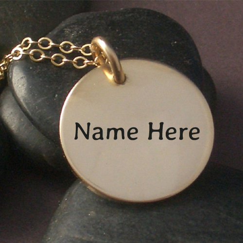 Write Name on Necklace In Hand Stamped Gold