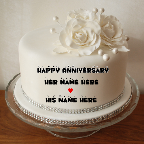 Happy Anniversary Wishes White Name Cake With Flowers