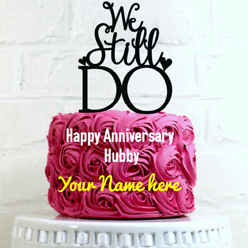 Happy Anniversary Hubby Wishes Pink Cake With Your Name