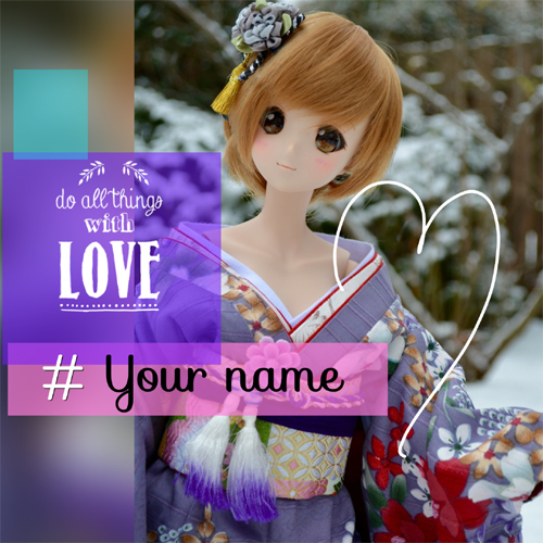 Cute Sweet purple Doll Greeting With Name