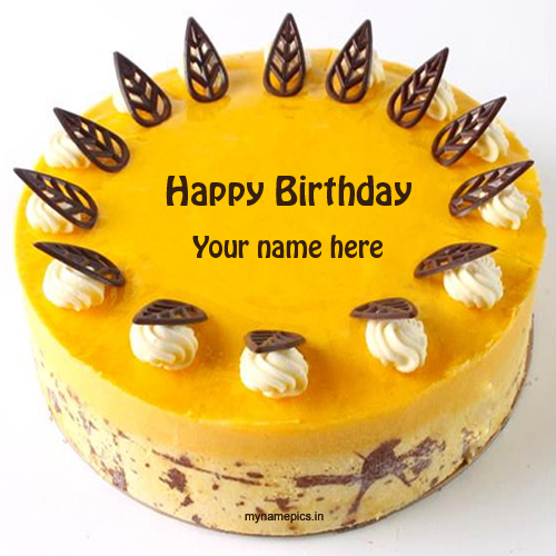 Write name on mango birthday cake pics