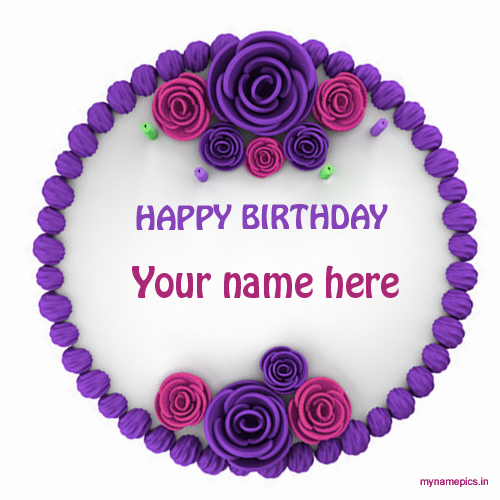 Write name on beautiful flower birthday cake pics