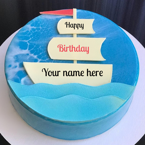 Sailor Theme Nautical Birthday Wishes Cake With Name