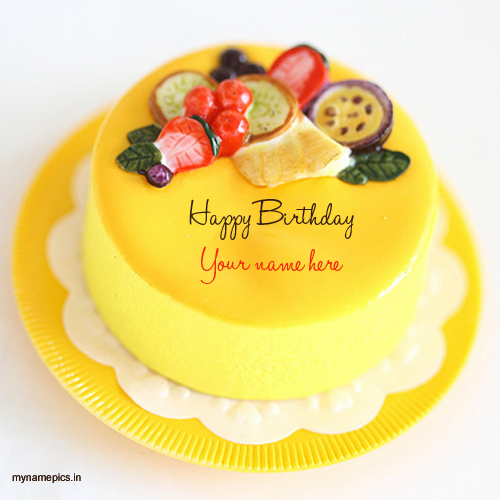 Write name on fruit birthday cake pics