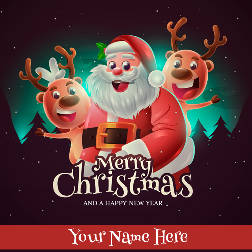 Santa Claus Wishes Merry Christmas DP Pics With Name