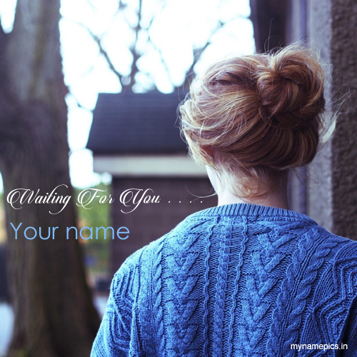Write your name on cute girl waiting profile pix