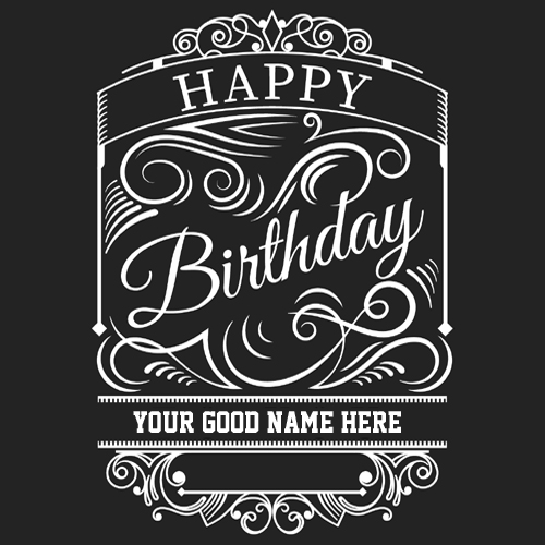 Happy Birthday Card in Retro Style With Your Name