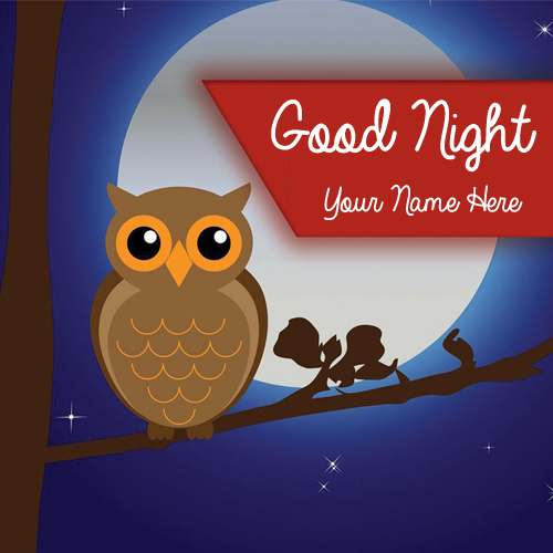 Sleepy Owl Good Night Greeting With Your Name