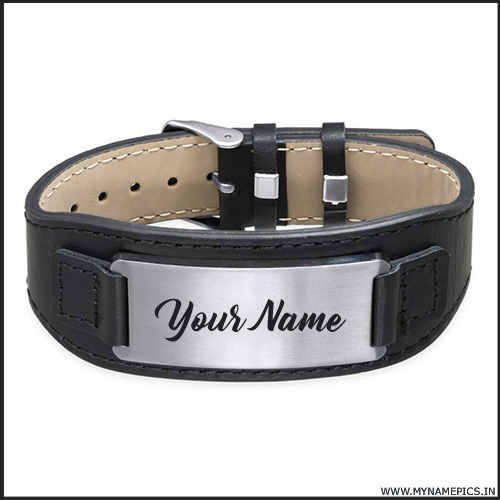 Write Your Name on Mens Bracelet in Black Leather