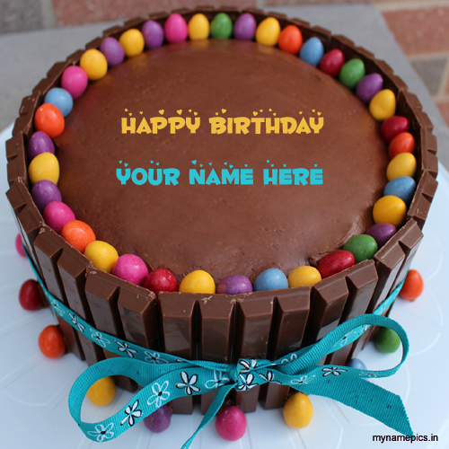 Write your name on Chocolate birthday cake profile pict
