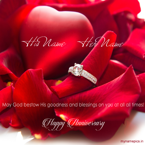 Write a name on happy anniversary greeting card online