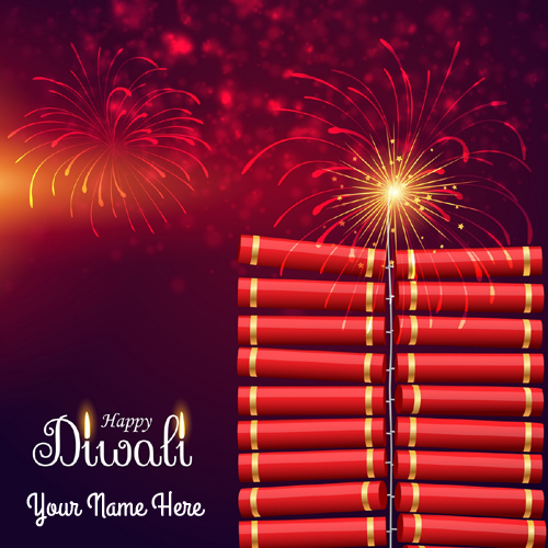 Happy Diwali Celebration Fireworks Greeting With Name