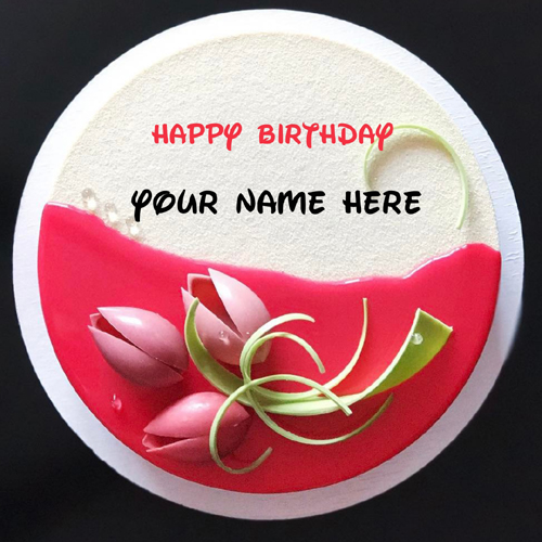 Happy Birthday White Buttercream Floral Cake With Name